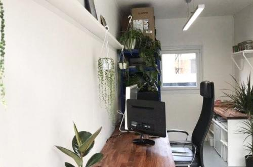 2 Desk spaces in container village Gossamer Gardens, East London
